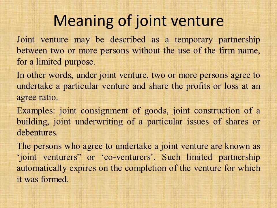 joint venture examples