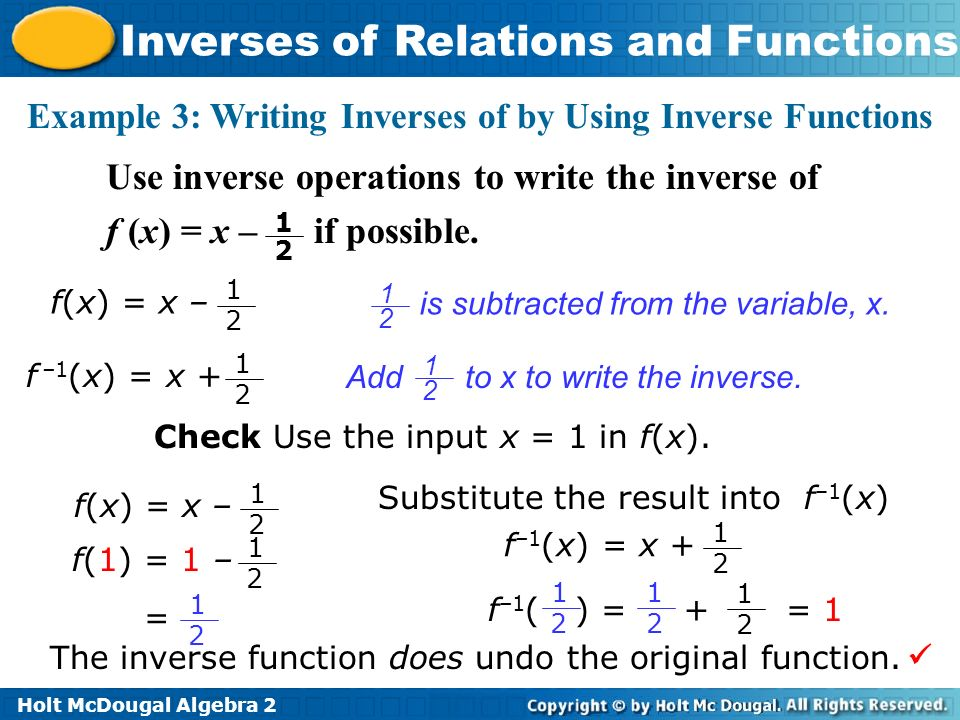 Inverses of Relations and Functions ppt video online download – Algebra 2 Inverse Functions Worksheet