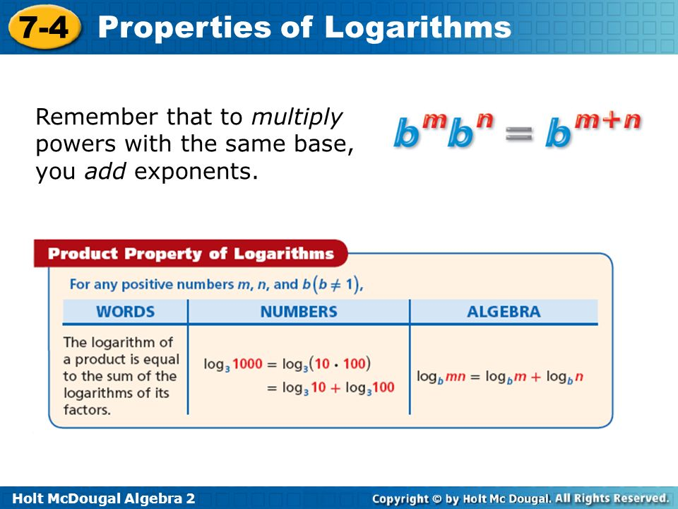 74 Properties of Logarithms Warm Up Lesson Presentation Lesson – Multiplying Powers with the Same Base Worksheet