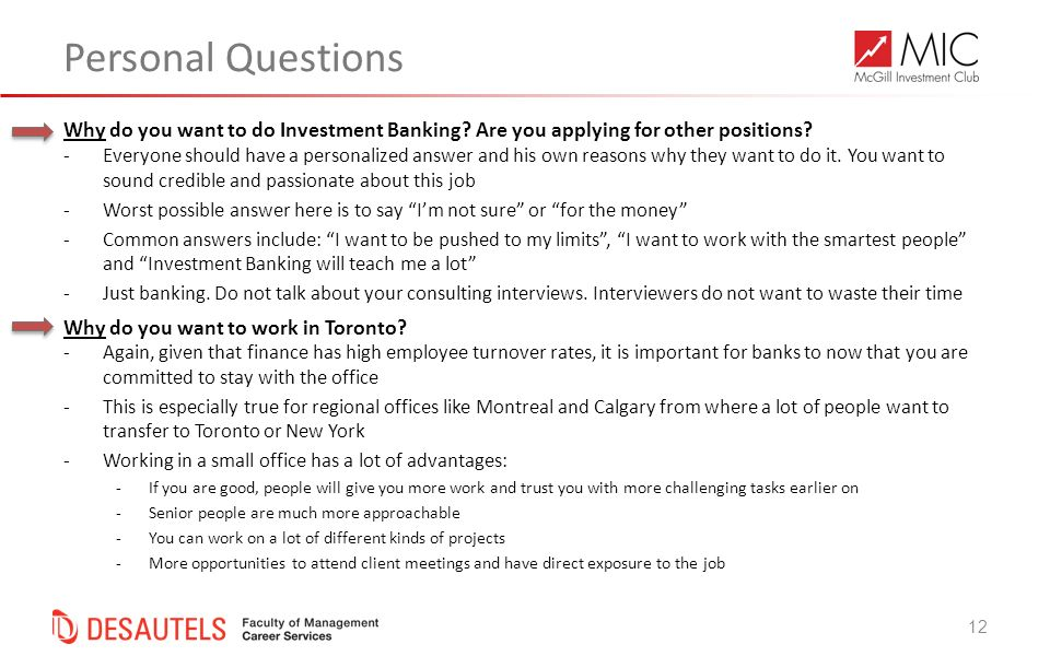 Personal Questions Why Do You Want To Do Investment Banking Are You  Applying For Other Positions