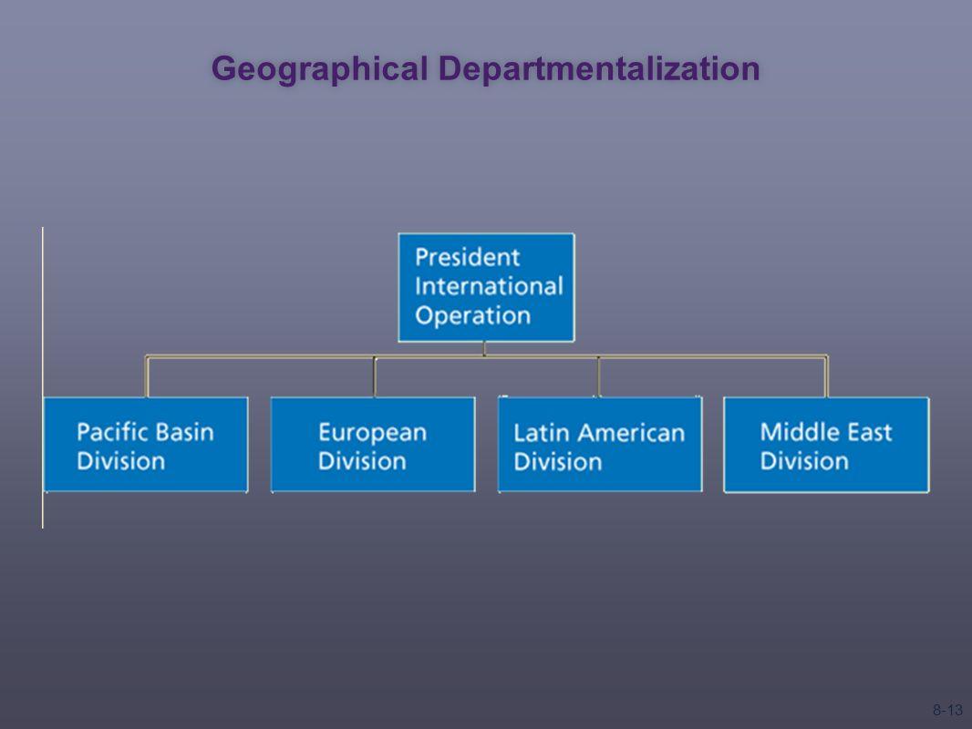 geographical departmentalization Basic organizational design  departmentalization,  geographical departmentalization groups jobs on the basis of geographical region 4.