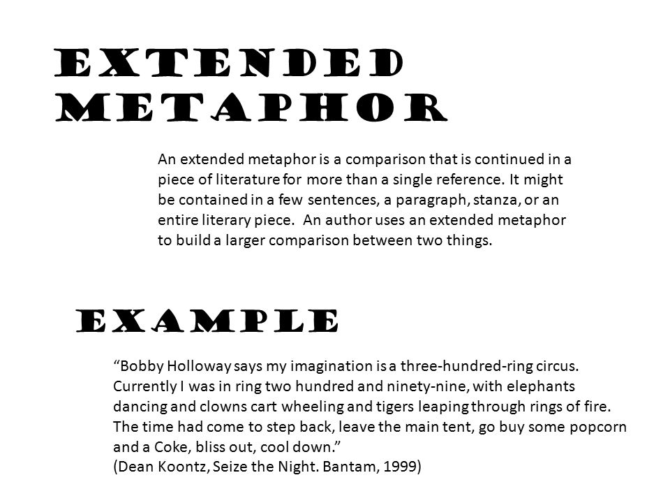 extended metaphor examples in literature