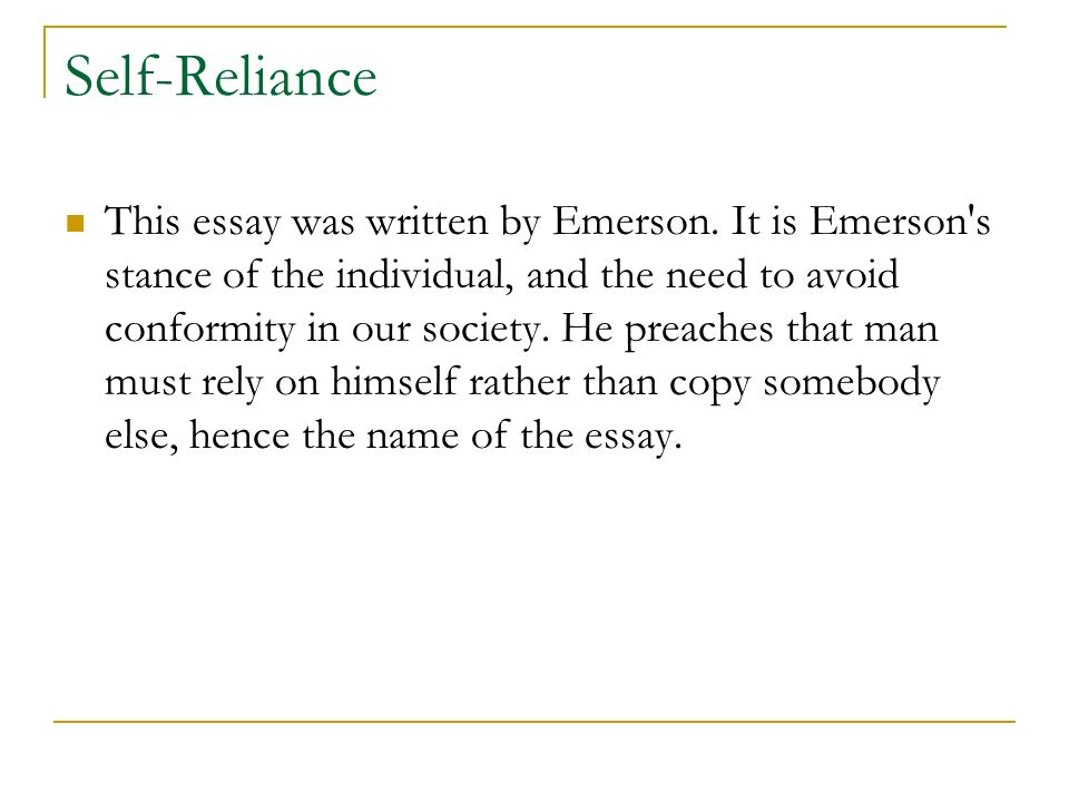 ralph waldo emerson by nabimarinat ppt video online  14 self reliance this essay