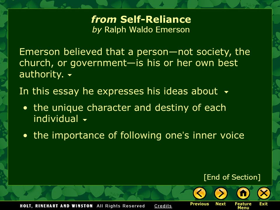 Self-Reliance Summary