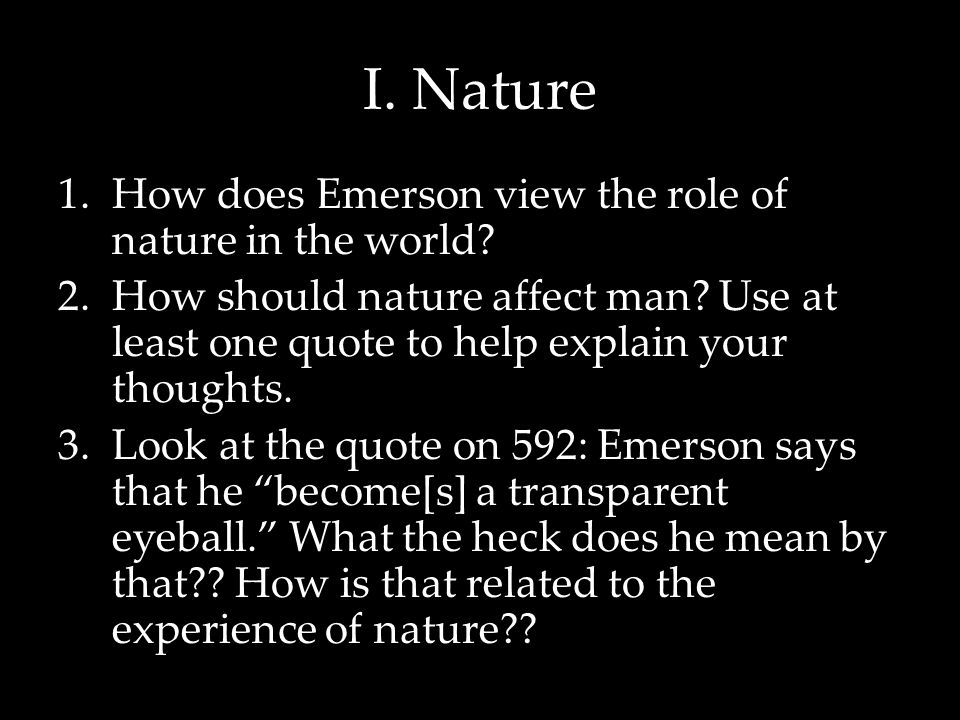 ralph waldo emerson nature essay text The ralph waldo emerson society includes a chronology of emerson's life, bibliographies, and information about joining the society digital emerson includes texts and commentary the pbs page on emerson has a brief biography and excerpts from his poetry.
