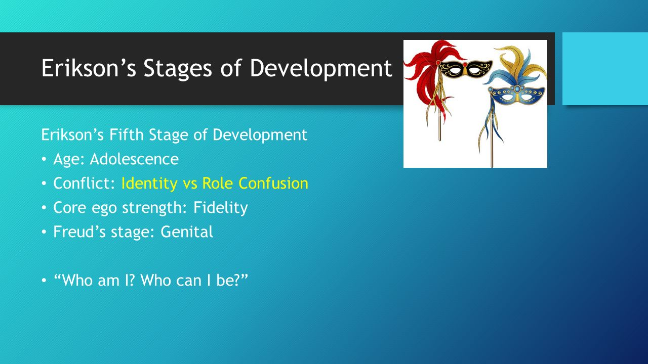 erikson s stages of development The characteristics of the erik erikson's stages of psychosocial development are not absolute contradictions of each other, but are gradual change from one end of a spectrum to the other.