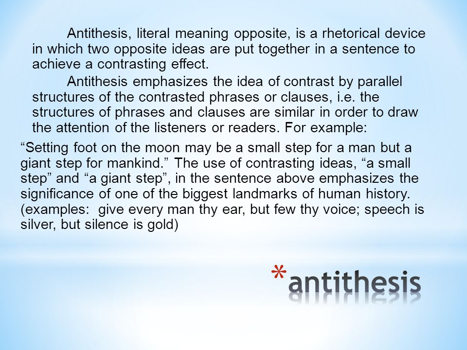 parallel antithesis Antithetical and antithesis entered english in the  the oldest sense of the english antithesis refers to a language pattern that contrasts parallel ideas,.