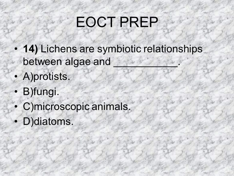 EOCT PREP 14) Lichens are symbiotic relationships between algae and ___________. A)protists. B)fungi.