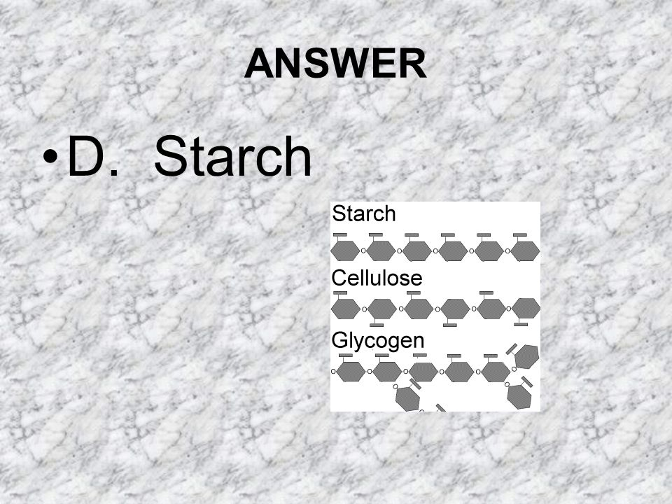 ANSWER D. Starch