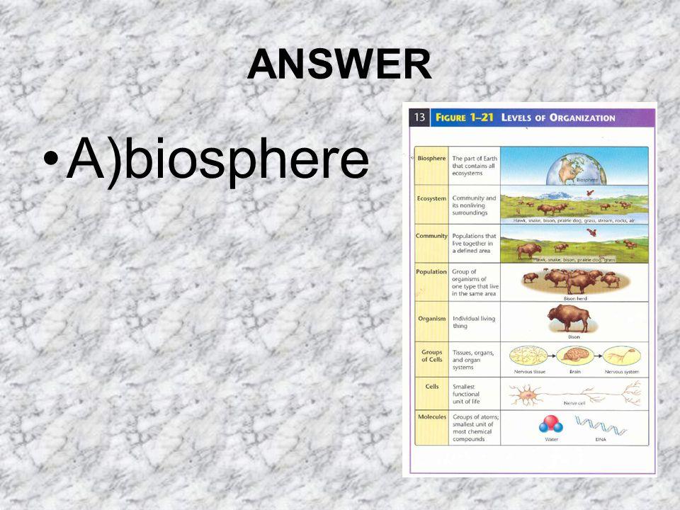 ANSWER A)biosphere