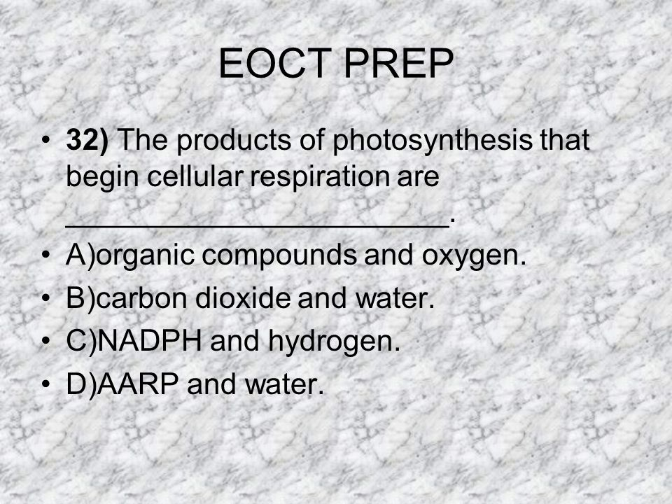 EOCT PREP 32) The products of photosynthesis that begin cellular respiration are _______________________.