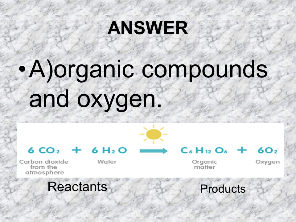A)organic compounds and oxygen.