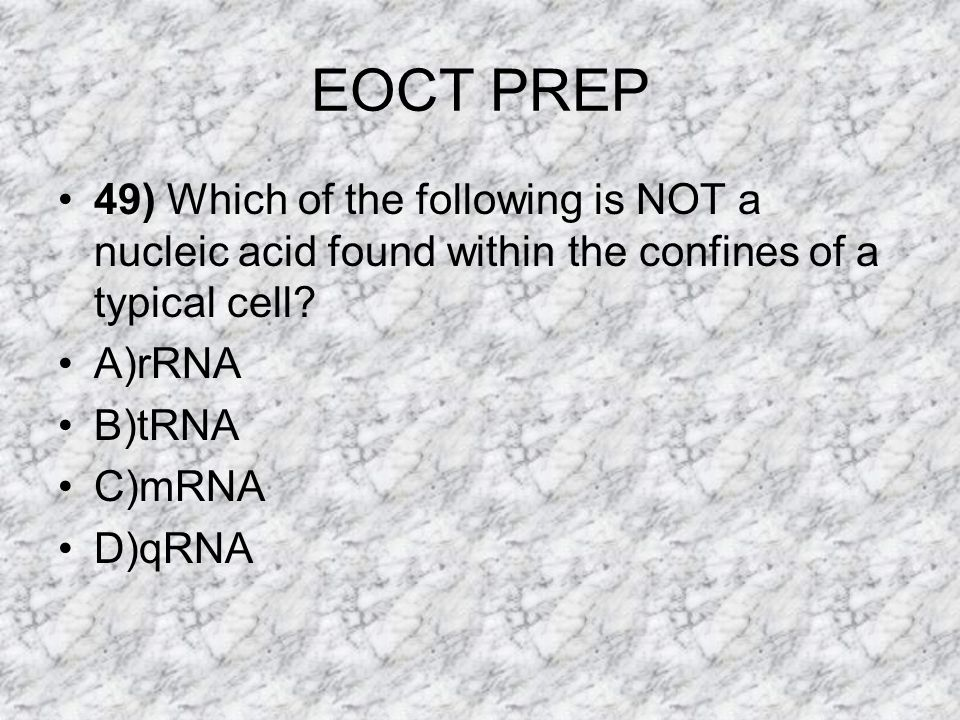 EOCT PREP 49) Which of the following is NOT a nucleic acid found within the confines of a typical cell