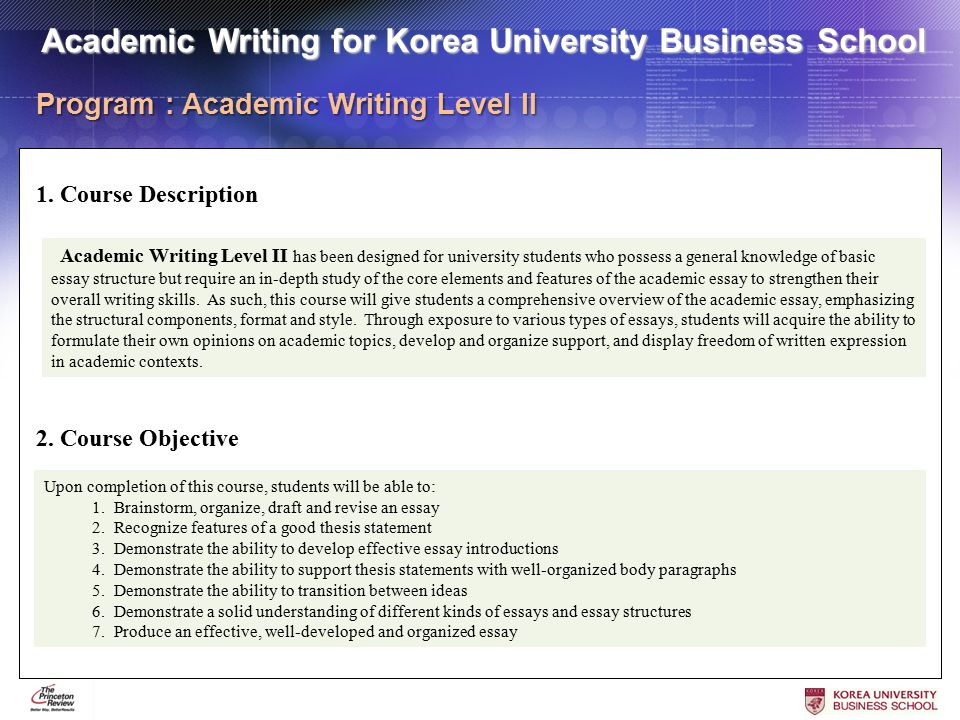 academic writing overview
