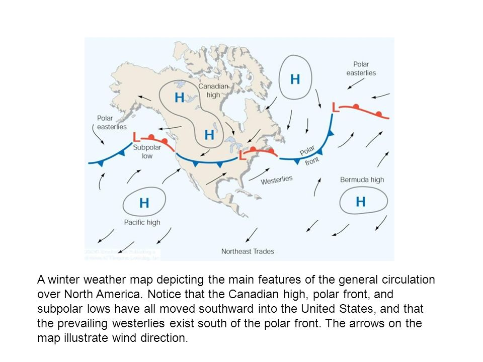 A Winter Weather Map Depicting The Main Features Of The General Circulation Over North America