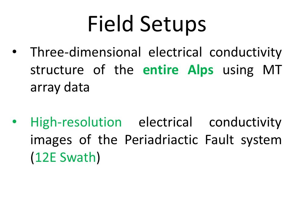 Field SetupsThree-dimensional electrical conductivity structure of the entire Alps using MT array data.