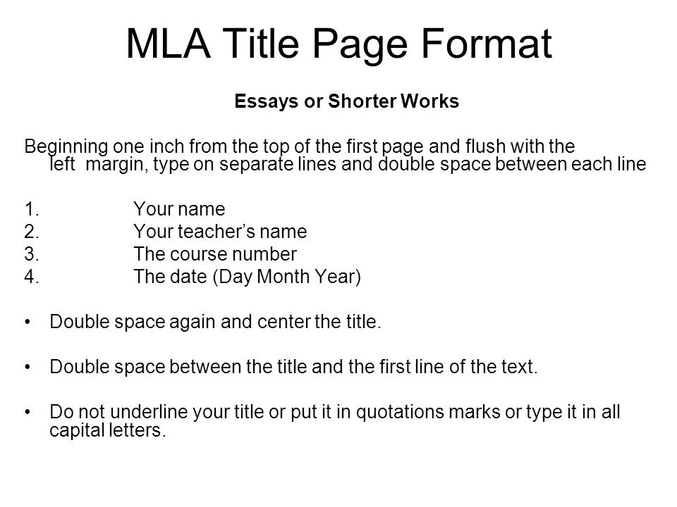 essay title page in mla format Sample research paper written following the style guidelines in the mla handbook for writers of research papers, 7th edition:.