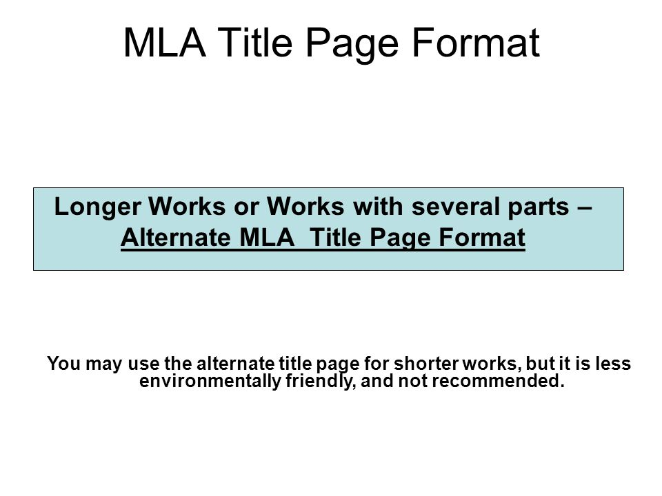 mla format for essay title page