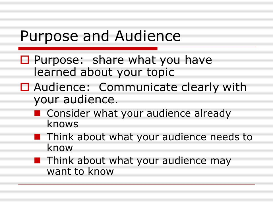 Writing audience and purpose