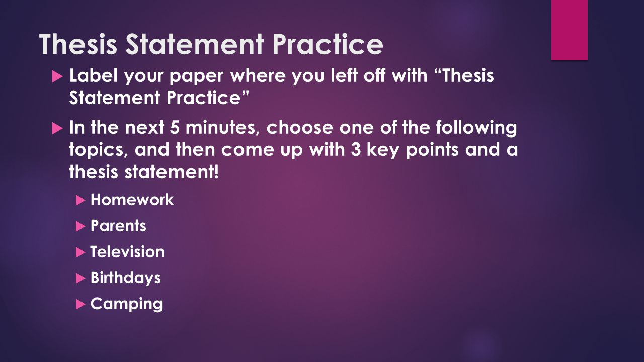 Thesis writing practice process