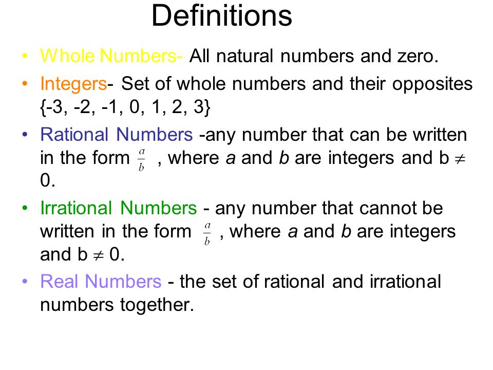 Irrational numbers definition