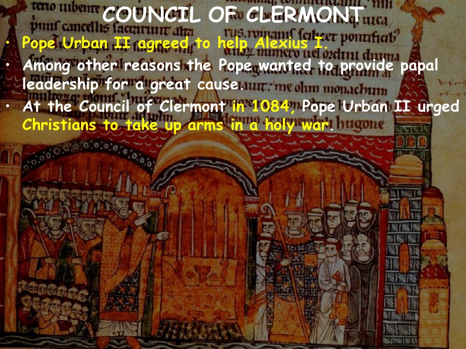 urban and the council of clermont A) promised remissions of sins for joining the crusades to recapture the holy land b) appointed peter the hermit as leader of the crusades c) urged the destruction of all jewish settlements on the crusaders&#39 way to the holy land d) the sending of a diplomatic mission to the muslims in order to gain peaceful access to jerusalem and its holy places e) all of the above.