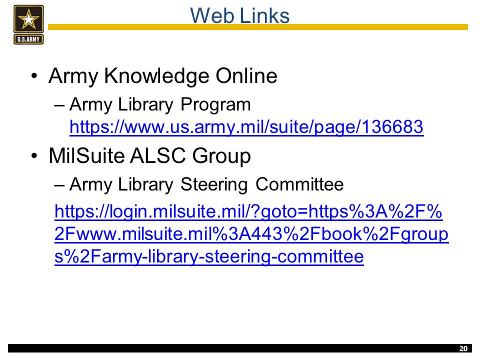 Army libraries david e mcbee ppt download for Milsuite