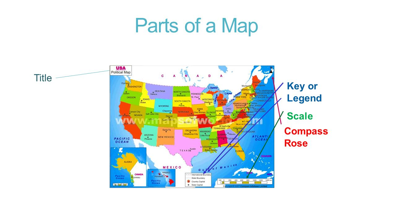Geography 21 core concepts ppt download 6 parts of a map title key or legend scale compass rose gumiabroncs Choice Image