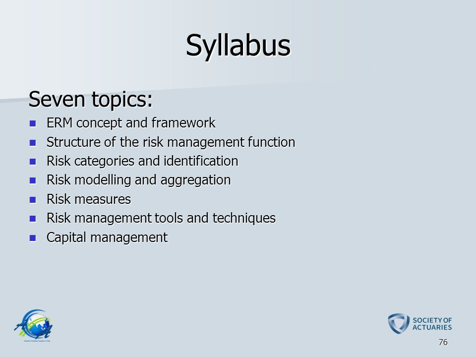 syllabus risk Courses the certification in professional achievement in enterprise risk management is composed of four courses: three required core courses and one elective course that you select from among four options.