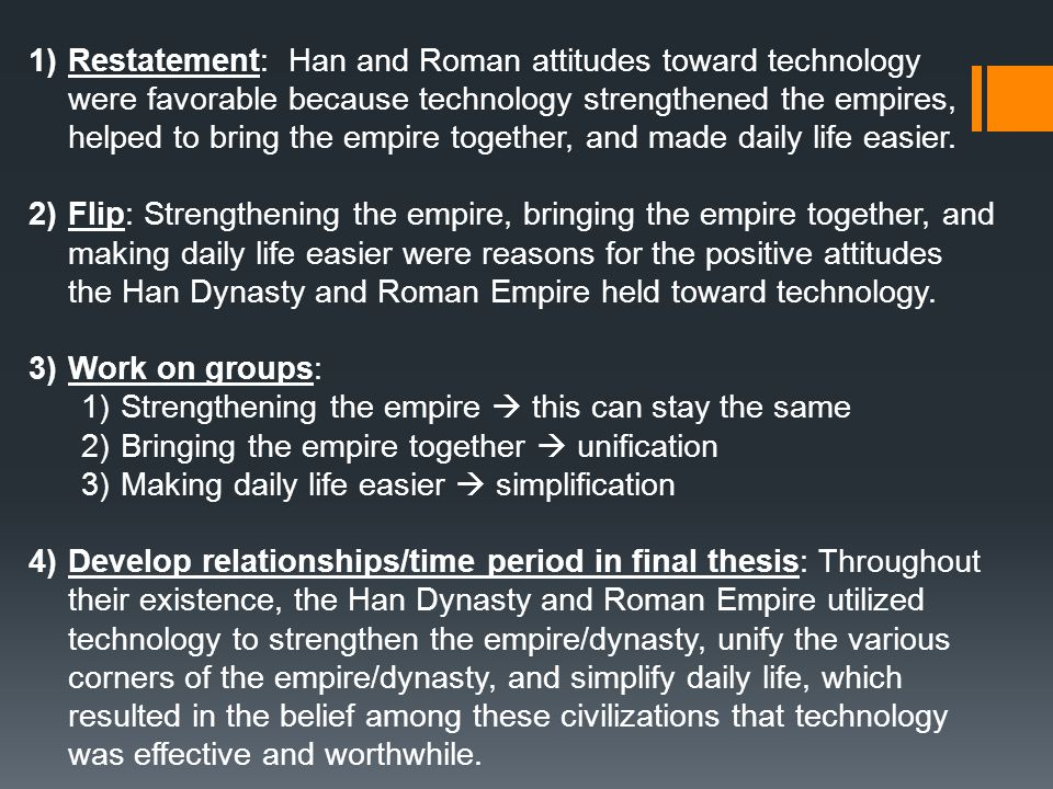a comparison of the han and the roman attitudes toward technology