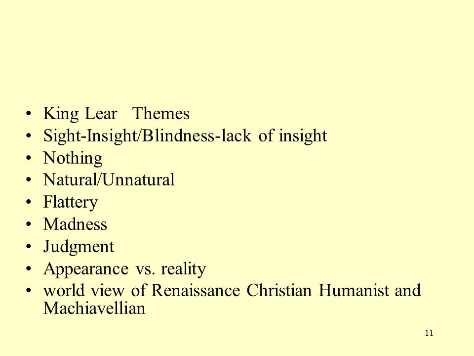 expectations and blindness in king lear Edgarking lear study guide plot summary 5 full character list character description king lear lear is king of  his expectations  of blindness are completely.