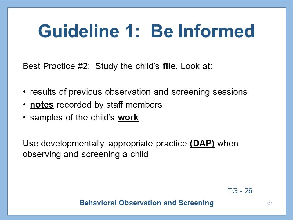 the developing child observation guideline