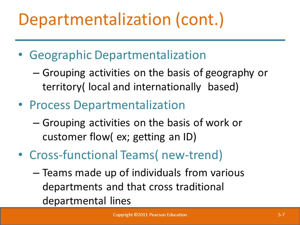 Departmentalization (cont.)