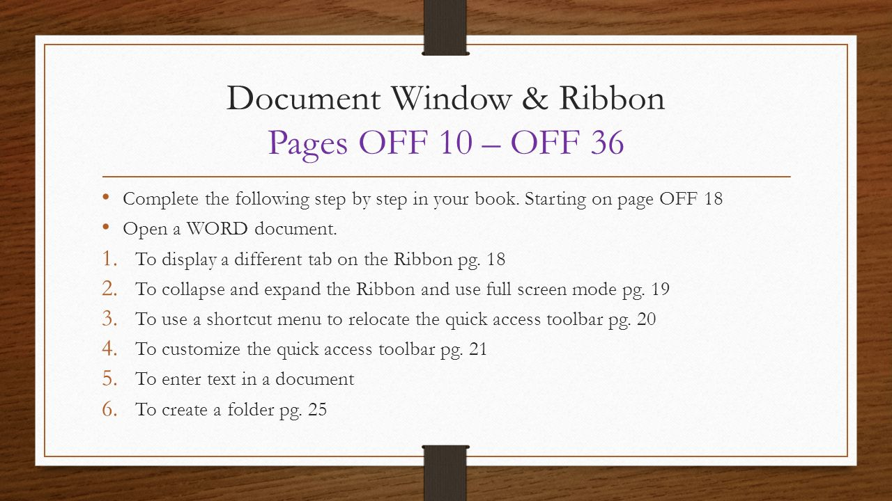 Document Window & Ribbon Pages Off 10 '� Off 36 4 Microsoft Word