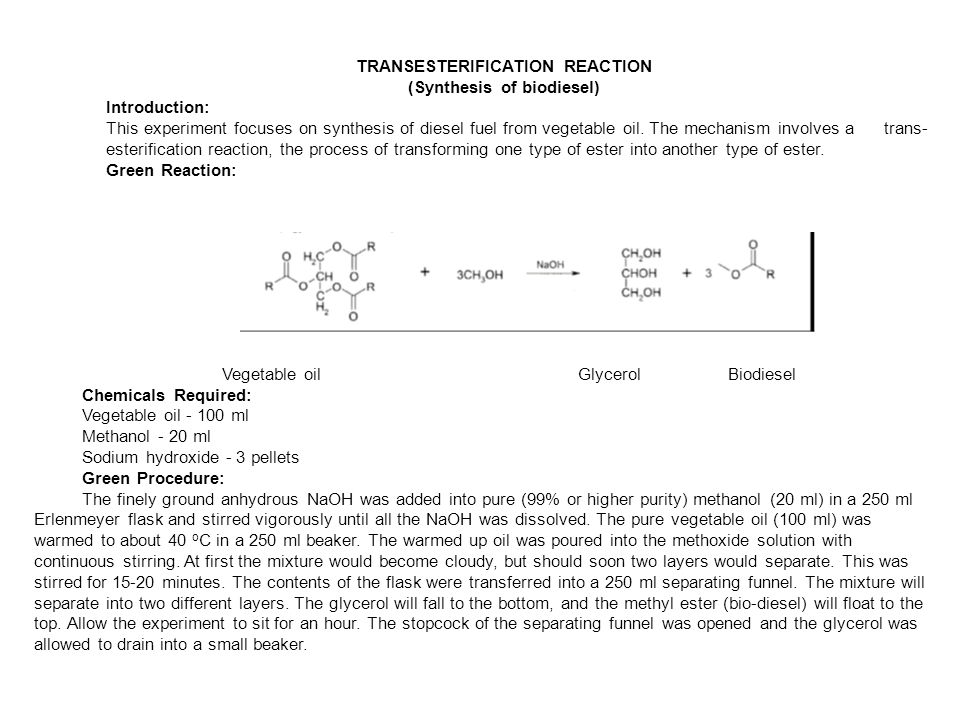 Transesterification Reaction Synthesis Of Biodiesel Introduction