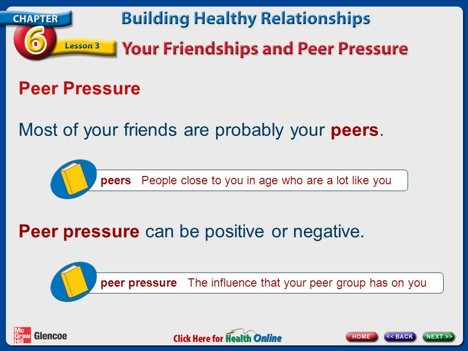 Most of your friends are probably your peers.