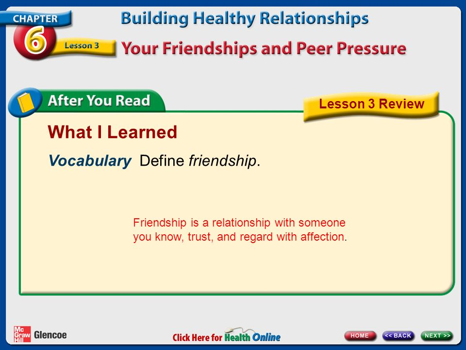 What I Learned Vocabulary Define friendship. Lesson 3 Review