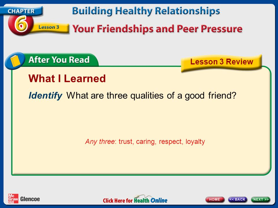 What I Learned Identify What are three qualities of a good friend