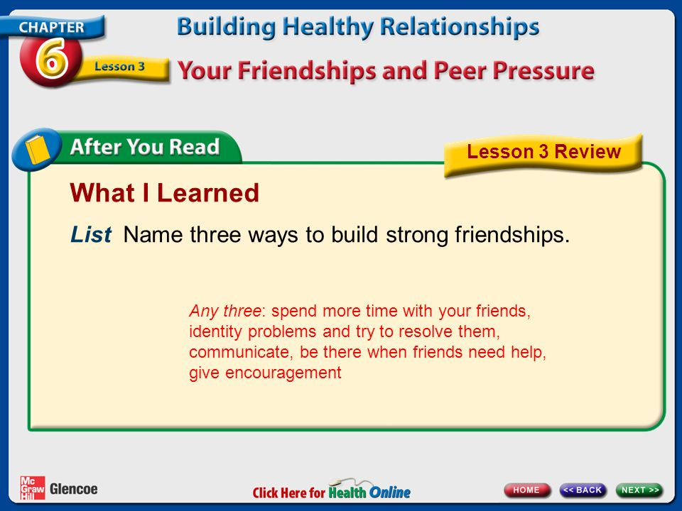 What I Learned List Name three ways to build strong friendships.