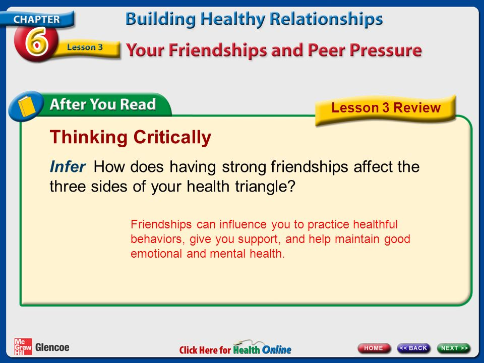 Lesson 3 Review Thinking Critically. Infer How does having strong friendships affect the three sides of your health triangle