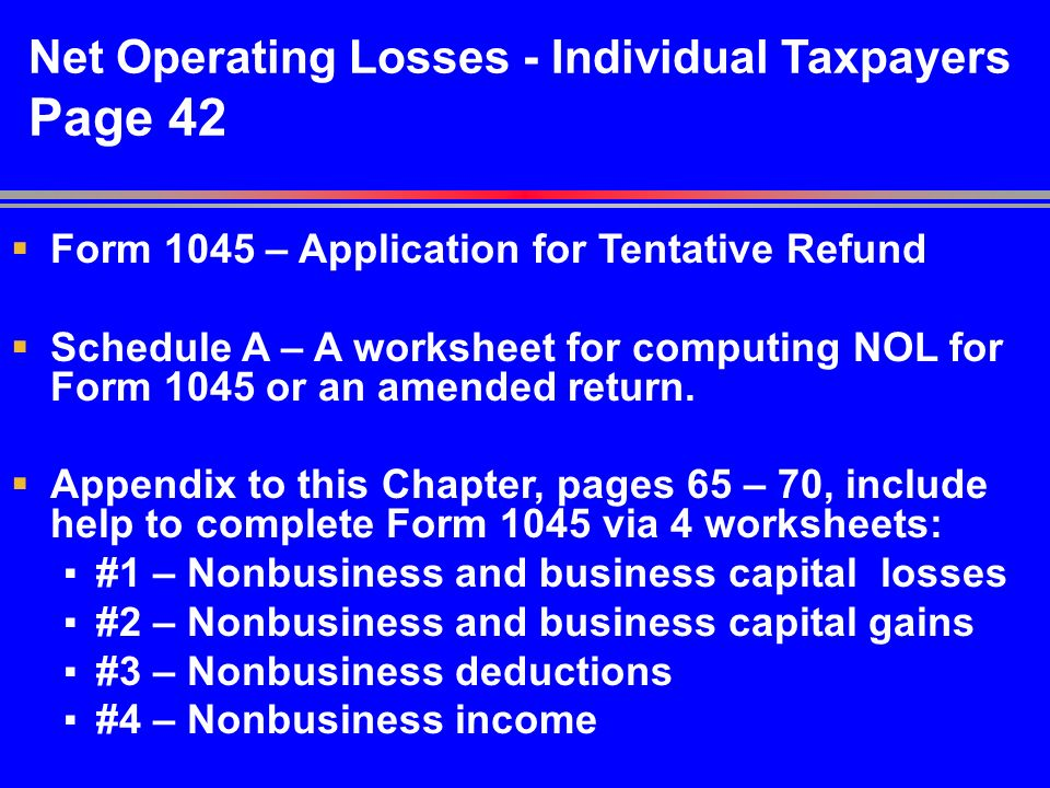 Net Operating Losses Chapter 2 pp ppt download – Net Operating Loss Worksheet