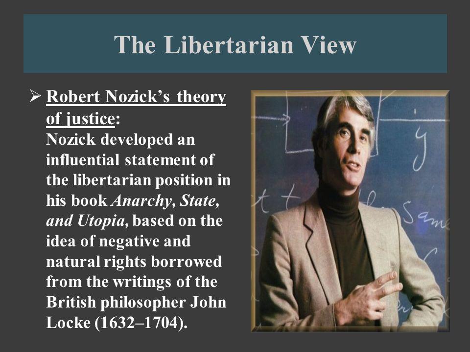 rules of justice according to nozick According to nozick there are three sets of rules of justice, defining: how things not previously possessed by anyone may be acquired acquired how possession may be transferred from one person to another and what must be done to rectify injustices arising from violations of (1) and (2.
