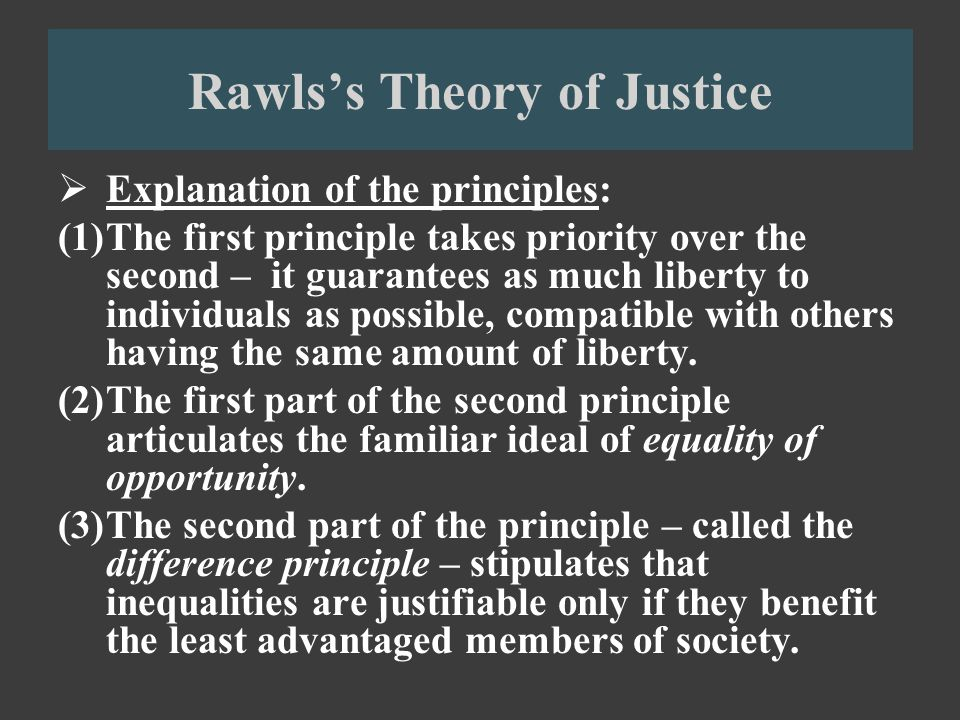 an overview of rawls difference principle In a theory of justice, rawls argues for a principled reconciliation of liberty and equality that is meant until (b), the difference principle and the final.