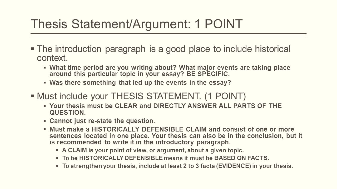 Where to place thesis statement in introduction