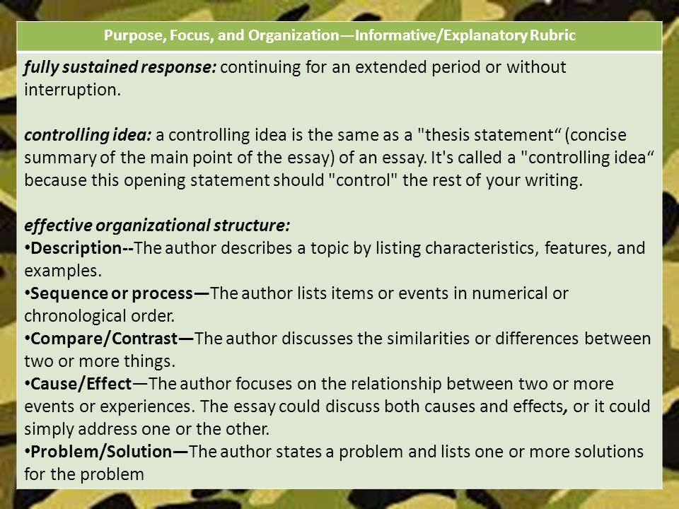 explanatory essay organization Writing prompts, student rubrics, and sample responses grade 7 expository clarification essay organization, and coherence—though they are slightly altered for each of the four modes the.