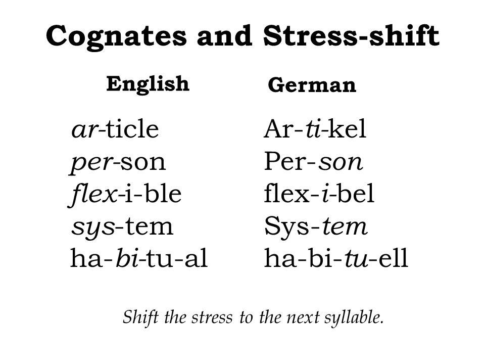 Cognates and Stress-shift