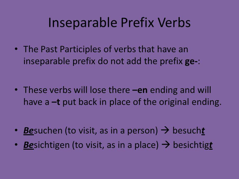 Inseparable Prefix Verbs