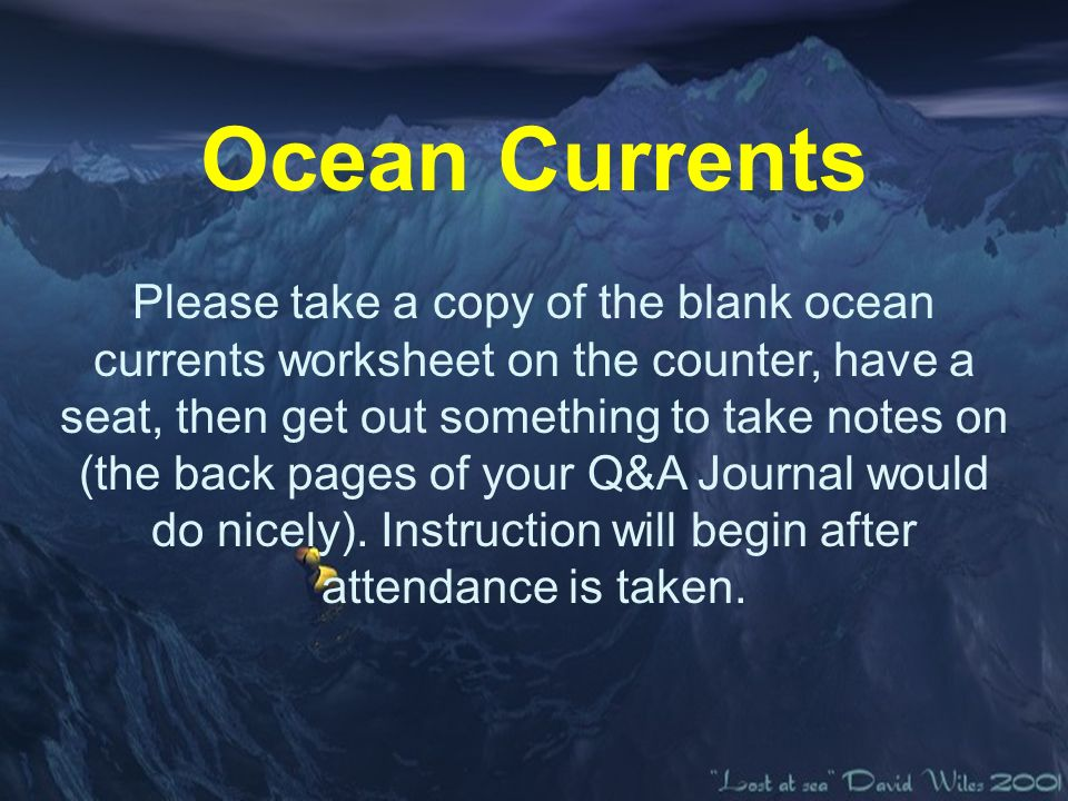Ocean Currents Please Take A Copy Of The Blank Ocean Currents