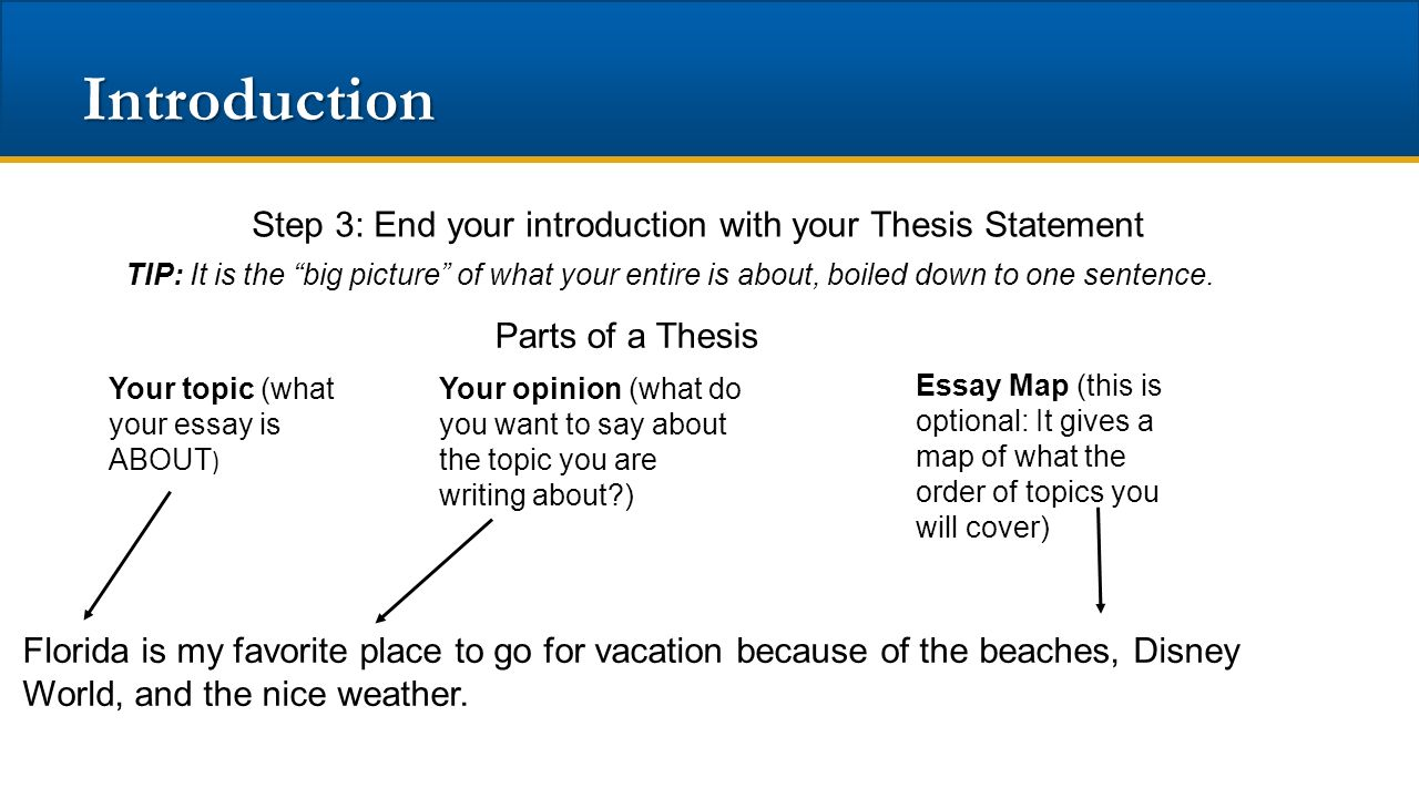 three step essay introduction Your introductory paragraph needs to accomplish three main things: it must 1  grip your reader, 2 introduce your topic, and 3 present your stance on the topic ( in.