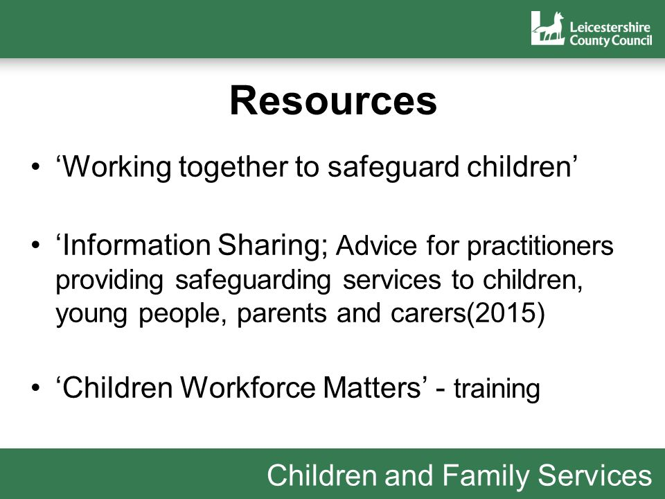 services which work together to safeguard Working together to safeguard children – july 2018 is a guide to inter-agency working to safeguard and promote the welfare of children this guidance covers: • the legislative requirements placed on individual services • a framework for the three local safeguarding partners (the local authority a clinical commissioning group for an area, any part of [].